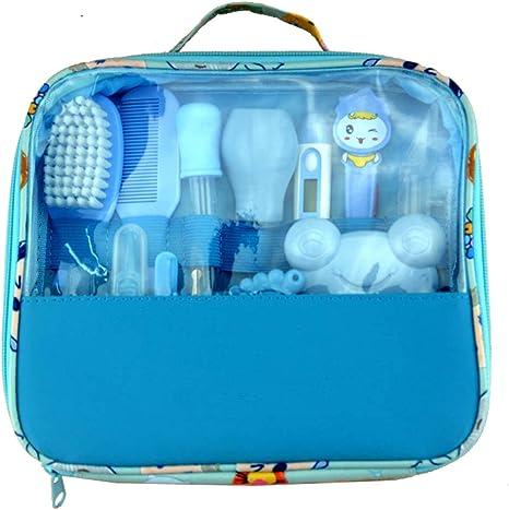 Estuche de cuidados y salud para bebe 13 pcs Neceser de Aseo de Bebé Higiénico Personal para el Hogar y de Viaje para Recién Nacido, Niños, Uñas, Pelo, Salud, Termómetro, Pincel (Azul):