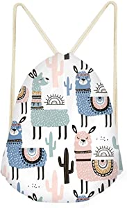 Anime Llama Drawstring Backpack Cinch Sack for Kids Girls Boys Gym Bag Party Favors Travel Beach Bag