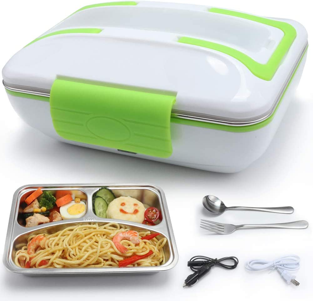 TLOG Electric Lunch Box, 2 in 1 Dual Use 40W for 110V Home & 12V Car/Truck, Stainless Steel Removable Lunch Heater Container with Spoon & Fork 1L Food Grade Material (Green)