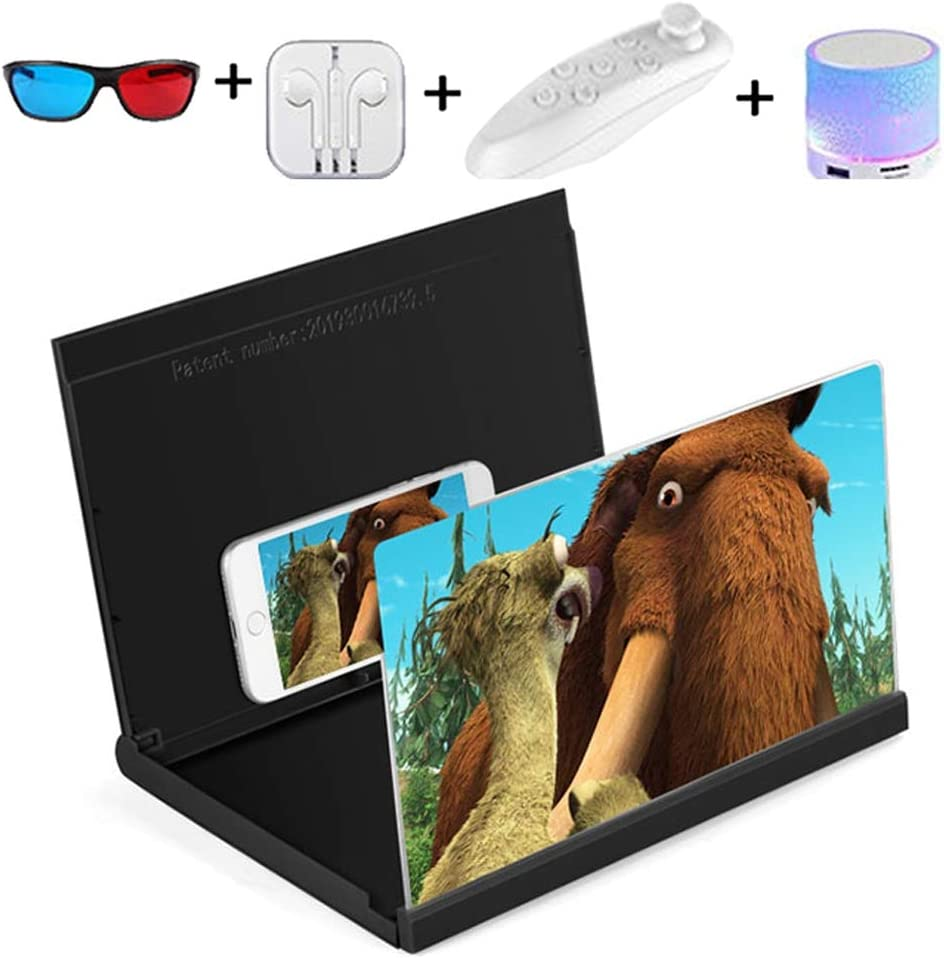 Foldable Stand Holder Screen magnifier 14 3D HD Monitor for Phone Enlarge The Screen Anti-Blue Radiation Magnifying Glass Suitble for All Smartphone Portable Home Cinema