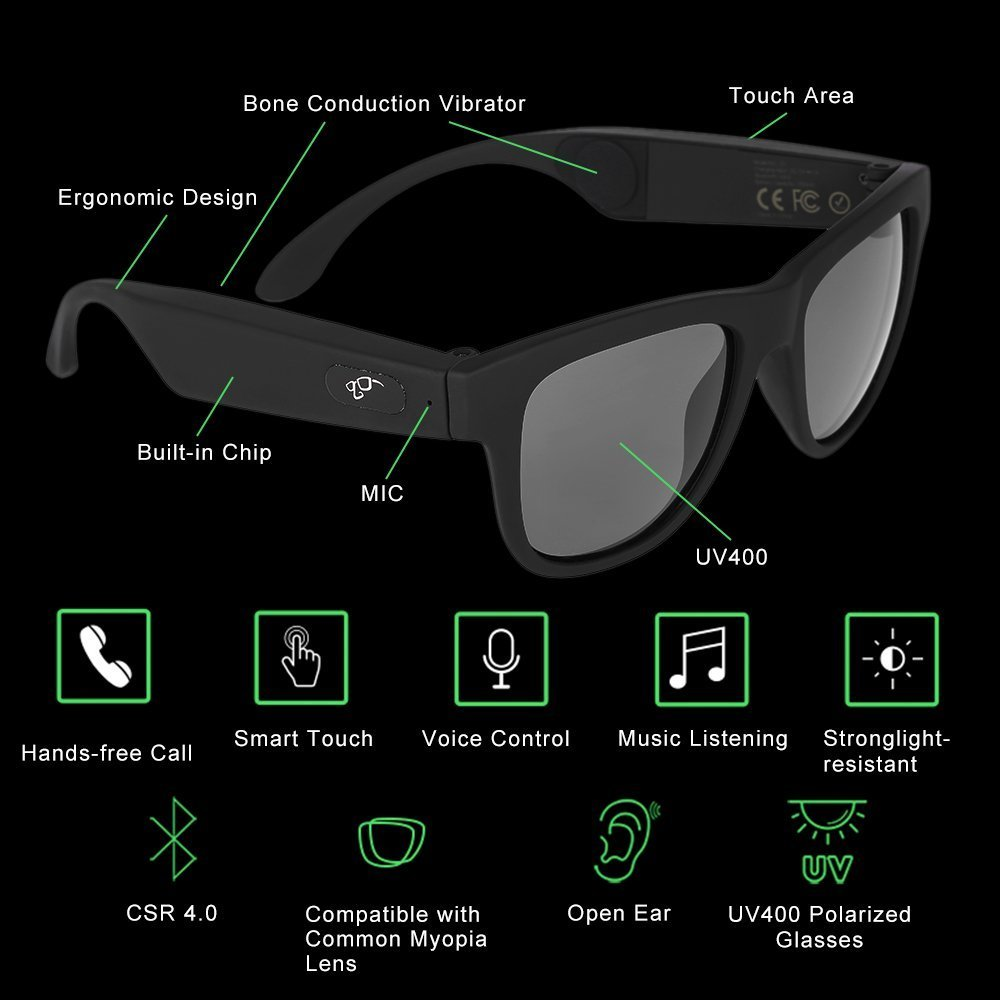 G1 Bone Conduction Headphones Polarized Glasses Sunglasses kkcite CSR8635 Bluetooth 4.0 Headset SmartTouch Stereo Music Earphone Wireless Headphone with Microphone Black (G1)