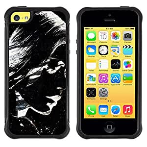 Suave TPU Caso Carcasa de Caucho Funda para Apple Iphone 5C / Sunglasses Girl Woman Art Painting Lips / STRONG