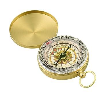 Hiking Gear Outdoor Camping Hiking Brass Pocket Compass Luminous Navigation Compass