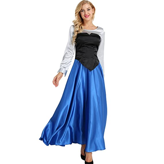 e0be30bf09d MSemis Déguisement Sirène Adulte Fille Femme Costume Cosplay Chemisier +  Bustier + Jupe Longue Halloween Carnaval