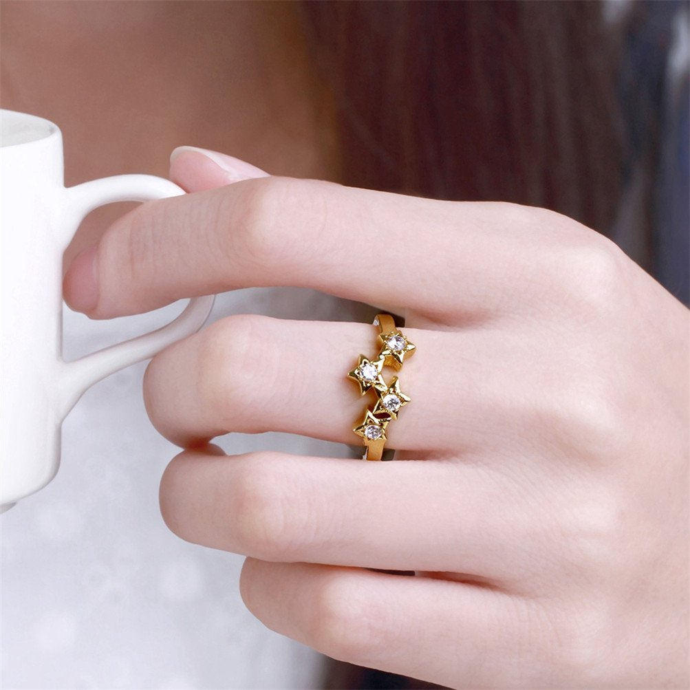 Mrsrui Star Crystal Statement Ring Gold Plated Jewelry Gift for Girls Austrian Crystal by Mrsrui (Image #5)