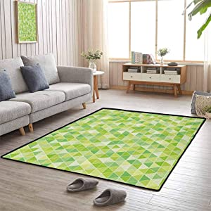 Floor Mat Rug, Contemporary Luxury Large Rug Presents Decor Idea for Kids Nursery, Lime Green | Triangles Geometry Figures Modern Digital Pyramids Soft Icons Graphic - 3'x4'