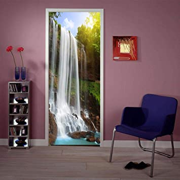 LMYWSX Etiqueta De La Puerta Vinilo 3D Murales Árbol De La Cascada Sala Estar Dormitorio Baño Impermeable Autoadhesivo Art Decals Decoración Hogar 90 * 200Cm: Amazon.es: Hogar