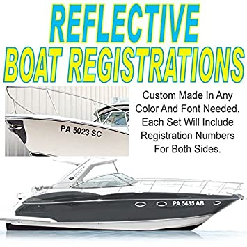 Amazoncom H X W REFLECTIVE BOAT REGISTRATION NUMBERS - Custom vinyl decal stickers for boats