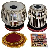 AKBAR MIAN & BROS Standard Tabla Set - Buy 3 Kg Brass Bayan, Finest Dayan with Padded Bag, Book, Hammer, Cushions & Cover (PDI-BFJ)