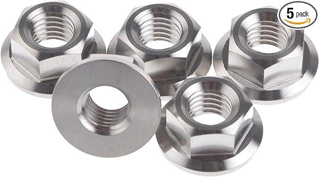 Wanyifa M14x1.5mm TC4 Titanium Ti Flange Nut DIN6923 Bolt Screw  Pack of 2