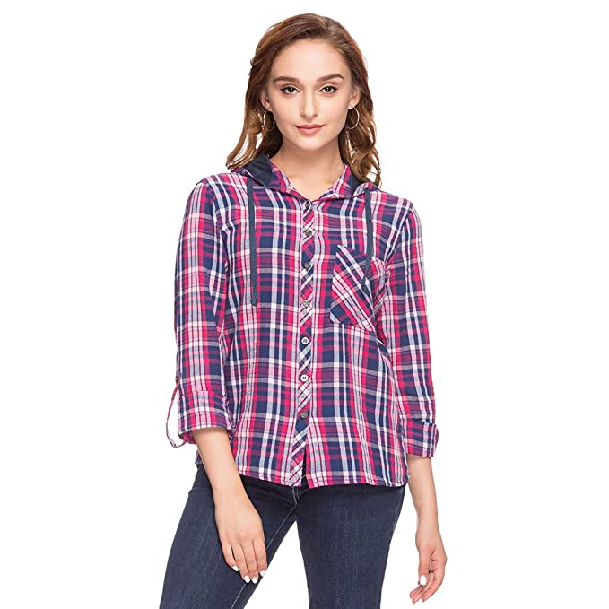 3c835055206bb Life by Shoppers Stop Womens Hooded Check Shirt  Amazon.in  Clothing    Accessories