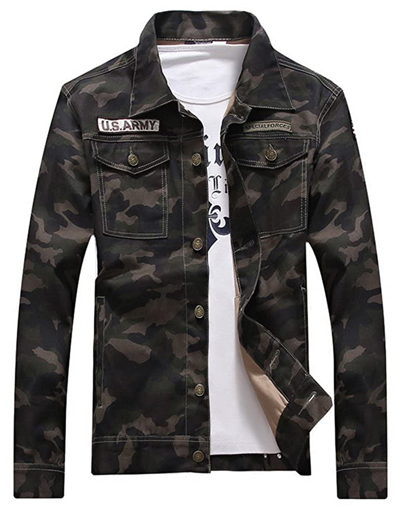 LifeHe Men Camouflage Slim Fit Denim Jacket Jeans Coat 2017