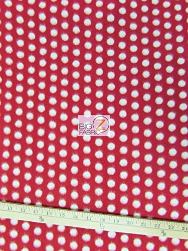 POLKA DOT PRINT FLEECE FABRIC BY THE YARD BABY WARM BLANKET DECOR (Red/White Dots)