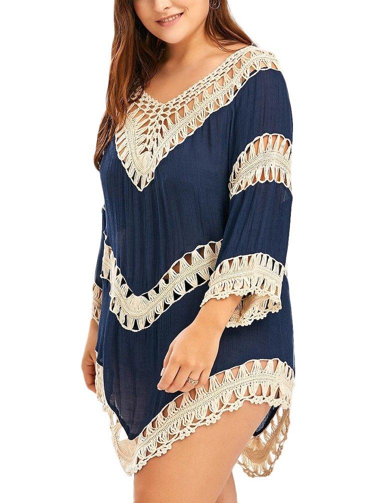Nicetage Women Sexy Oversize Crochet Bikini Cover up Beach Blouse Boho Tops Blue3