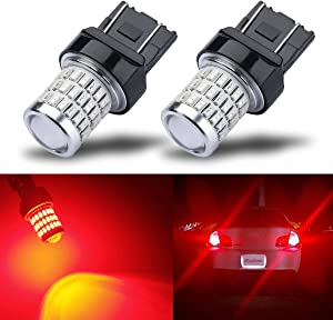 iBrightstar Newest 9-30V Super Bright Low Power Dual Brightness 7440 7443 T20 LED Bulbs with Projector replacement for Tail Brake Lights, Brilliant Red