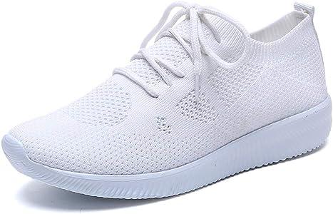 LANSKIRT Zapatillas Running de Mujer Zapatos Deportivos de Malla con Cordones de Transpirables para Actividades Al Aire Libre Correr Calzado Deportivo Mujer Verano(Blanco, 35 EU): Amazon.es: Zapatos y complementos