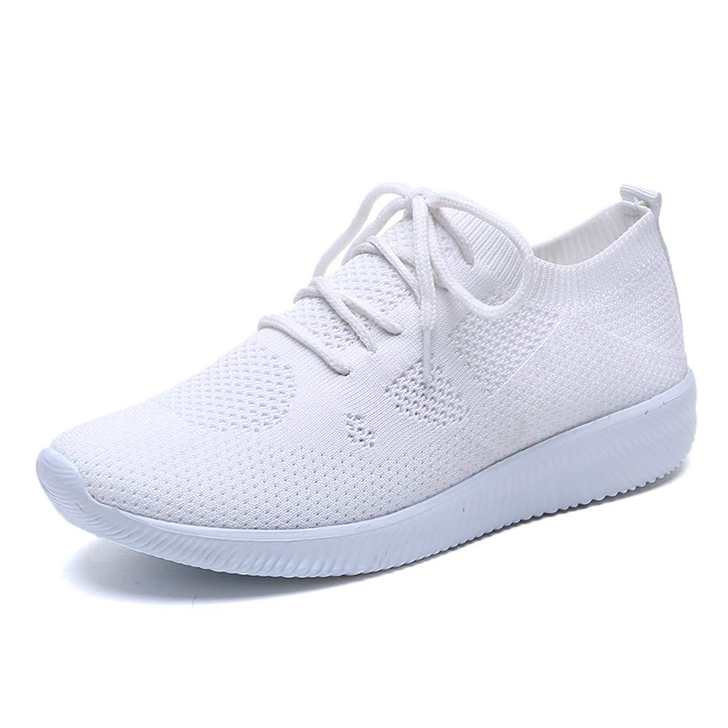 Hot Womens Sneakers Lightweight Outdoor Leisure Mesh Lace Up Sports Shoes Run Breathable Shoes Sneakers (White, 7.5)