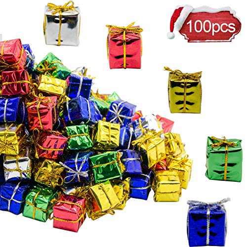 Alpurple 100 PCS Shiny Mini Boxes Ornaments-Assorted Colors Metallic Foil Wrapped Ornaments Decoration Boxes for Christmas Tree Hanging Decorations (Ornaments Box Gift)