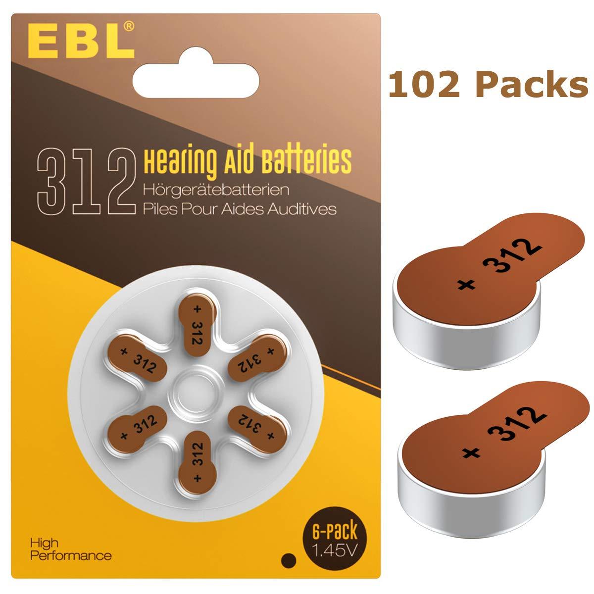 EBL Size 312 PR41 Hearing Aid Batteries 102 Pack 1.45V Zinc-Air Battery by EBL