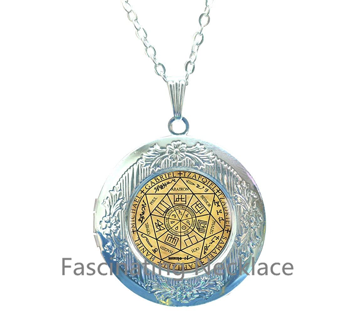 Abaicer Jewerly,AE0002 New Locket Necklace,Seals of The Seven Archangels Locket Pendant Choker Statement Silver Locket Necklace for Women Dress Accessories