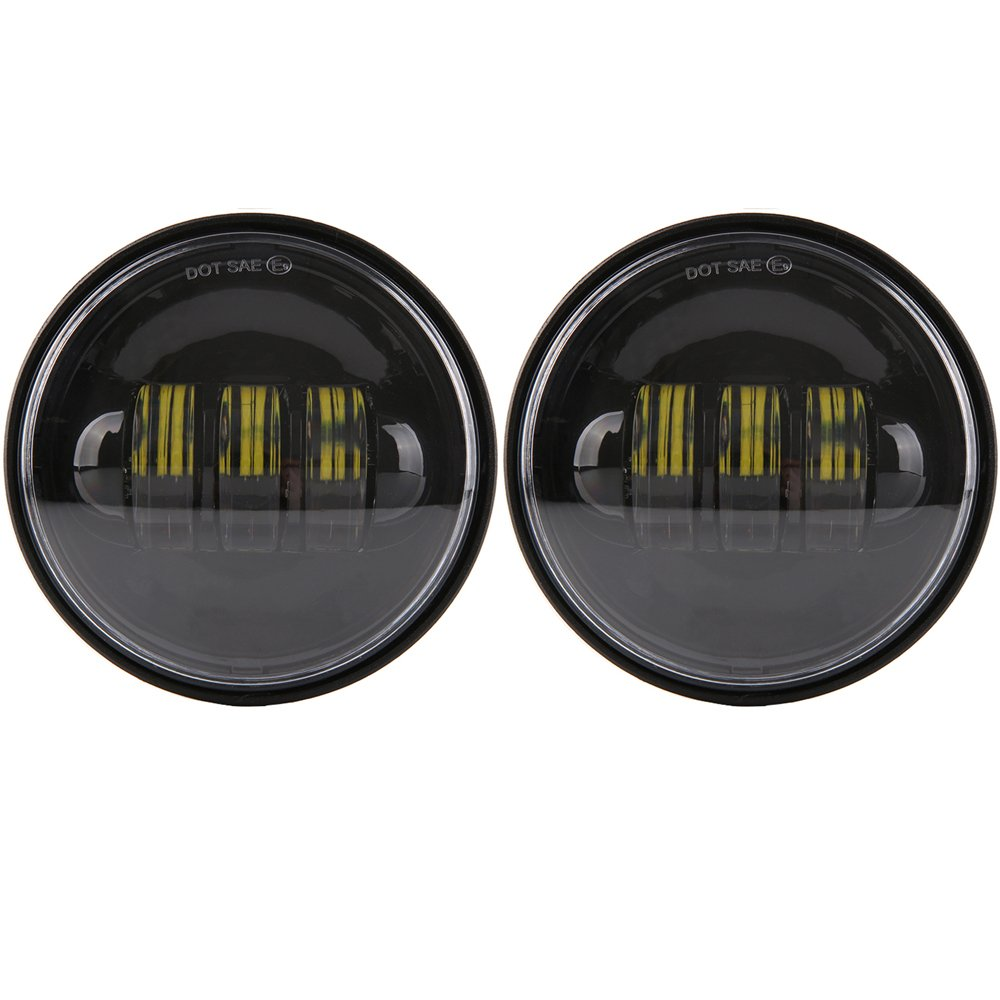 7 inch Daymaker LED Headlight DOT Kit Set Fog Passing Lights for Harley Davidson Ultra Classic Electra Street Glide Road King Heritage Softail Deluxe Slim Fatboy Motorcycle Headlights Headlamps Black by TRUCKMALL (Image #4)