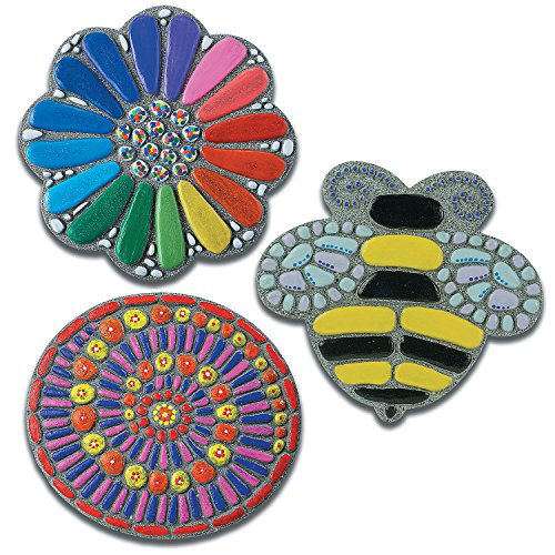 PAINT YOUR OWN STEPPING STONES: FLOWER, BEE & MOSAIC: SET OF 3