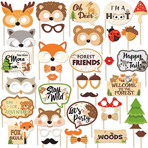 Printable Photo Booth Props (35 PCS Woodland Animal Photo Booth Props Wild One Camping Forest Theme Party Favors Decorations For Woodland Creatures Baby Shower Birthday Party)