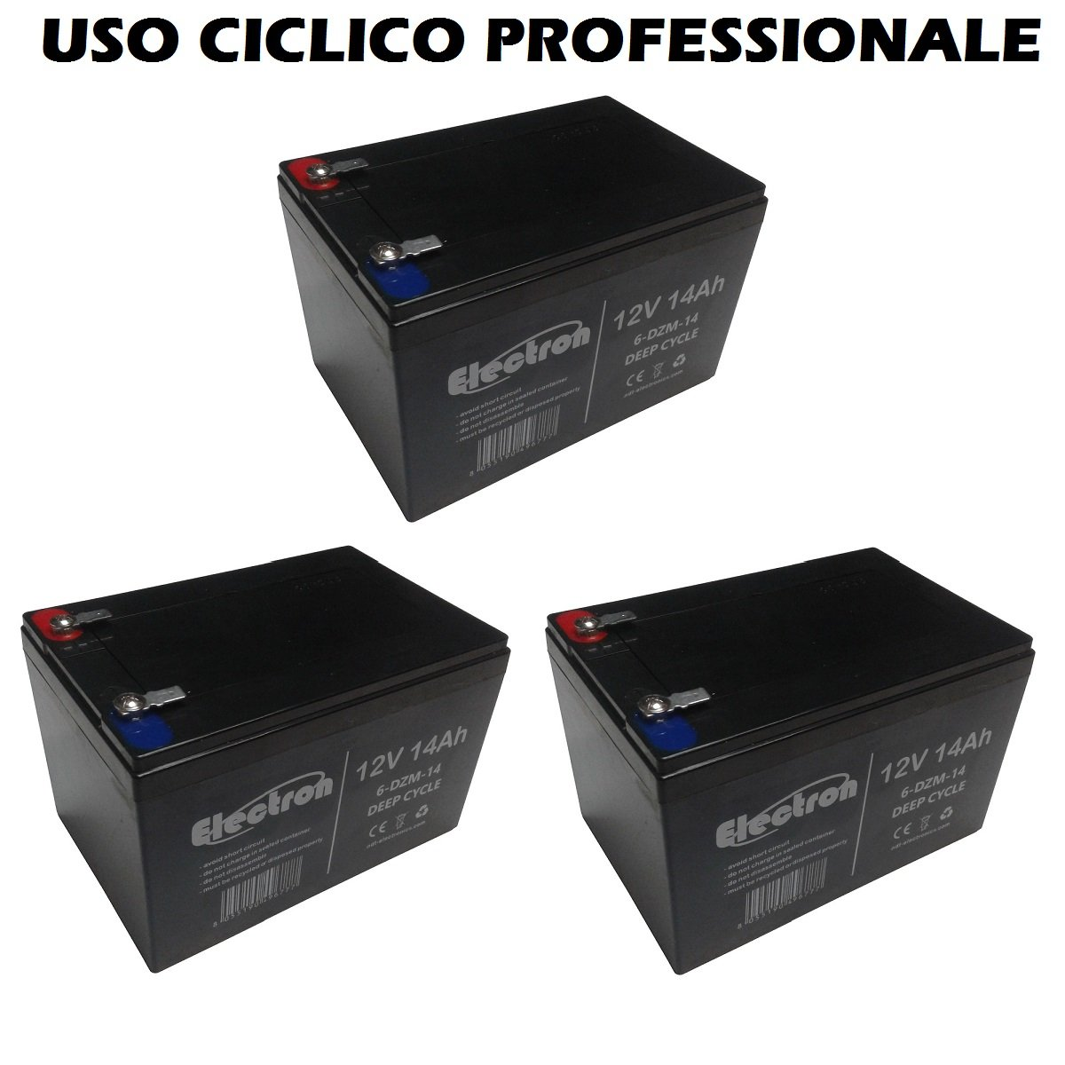 Kit 3 baterías de plomo recargable 12 V 36 V 14 Ah Ciclica ...