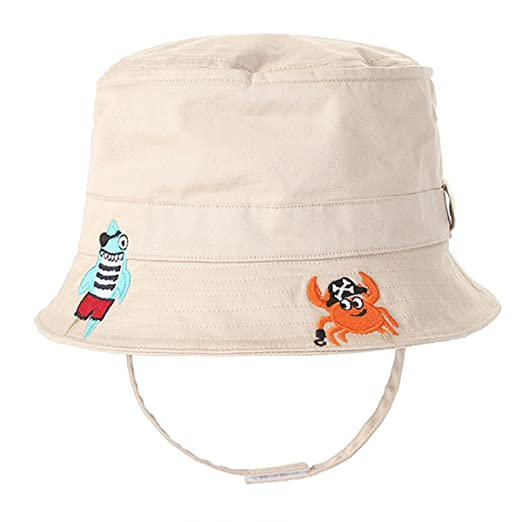 9849b37058884 Amazon.com  Baby Sun Hat Kids Toddler Pirate Crab Sun Protection Bucket  Breathable Cotton Hat with Chin Strap  Clothing