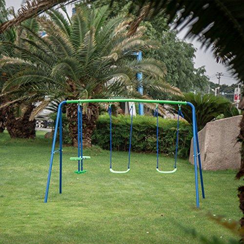 Kinbor Fun Swing Set for Kids with Two Swings Outdoor Backyard Metal Playset