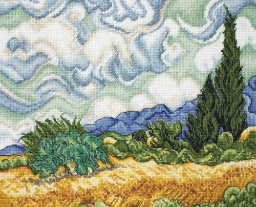Anchor Maia 18 Count Wheat Field with Cypresses Counted Cross Stitch Kit, 7-1/2 by 9-3/4-Inch