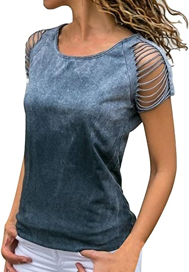 YEBIRAL Camiseta de Mujer Verano Casual Color Sólido Hueco ...