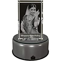 Arunai Laser 3D Photo Laser Engraved Crystal Cube (5x5x8 cm) with Multicolour LED Light Base