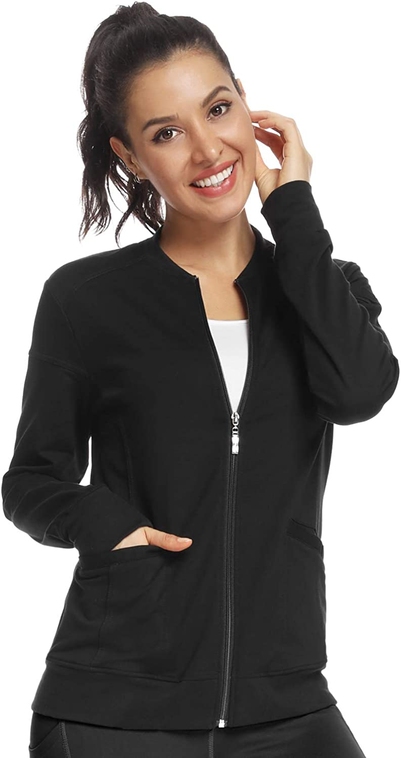 JEYONG Women's Zip Front Warm-Up Jacket: Clothing