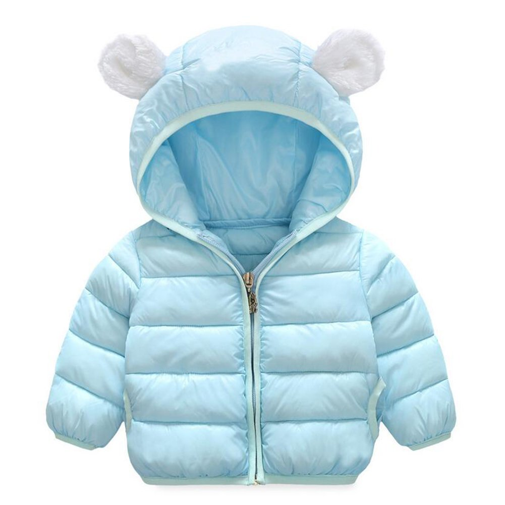 Baby Boys Girls Winter Puffer Down Jacket Kids Ear Warm Coat Thicken Cotton Hoodie Outwear Lightweight Windproof Jacket (12-18 Months, Light-blue)