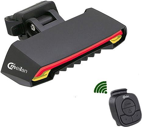 Luz LED trasera para bicicleta con intermitente incorporado, control remoto, 6 modos, resistente al agua y recargable con USB: Amazon.es: Deportes y aire libre