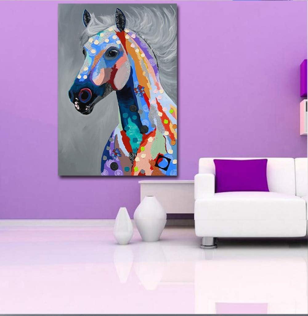 RUIYAN Cuadro En Lienzo Animal Jirafa Gato Caballo Familia con Gafas Impresión En Lienzo Mural Dormitorio Mn51P 40X60Cm Sin Marco