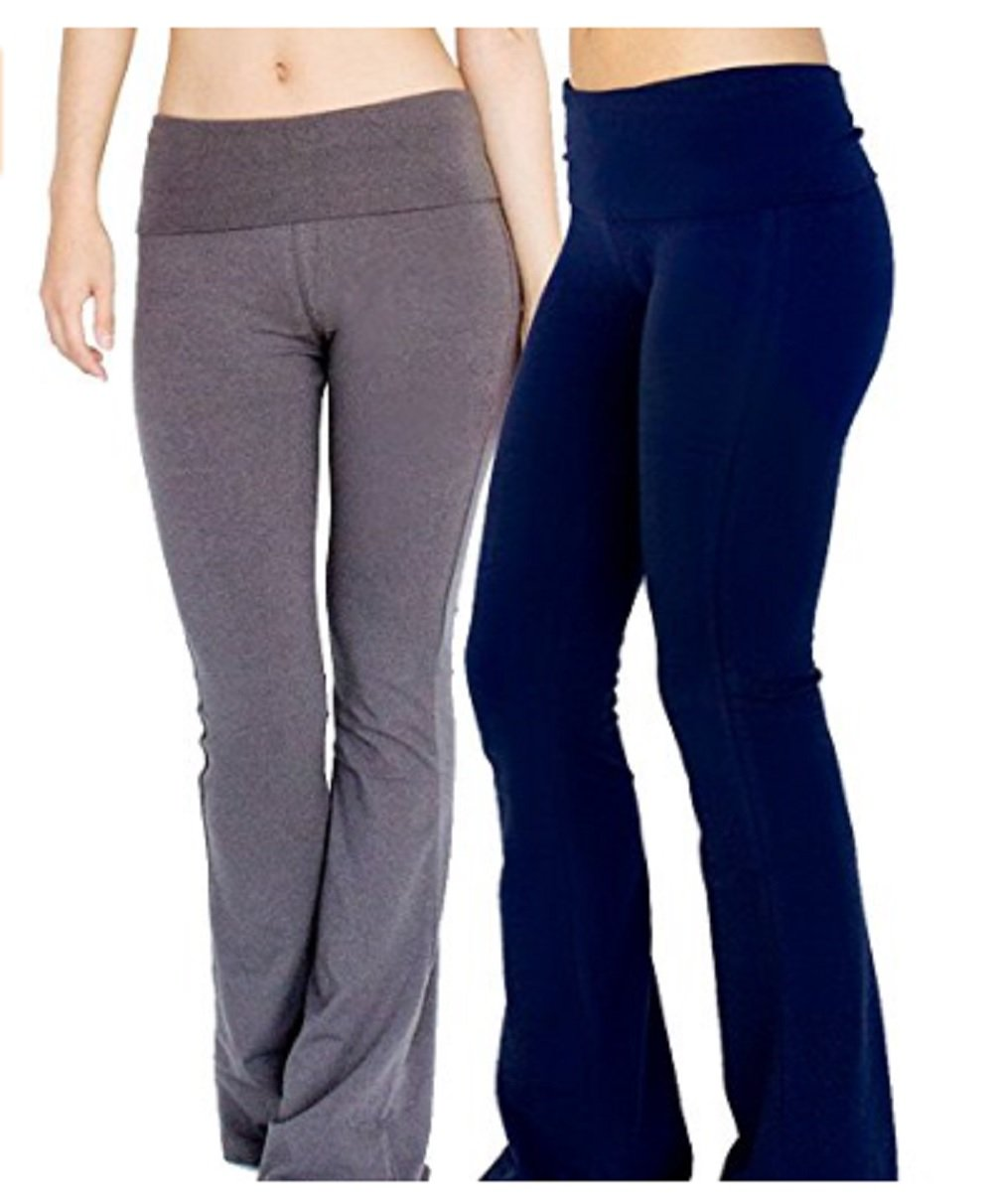 Hollywood Star Fashion Foldover Contrast Waist Bootleg Flare Yoga Pants (Large, 2Pack-Charc&Navy)