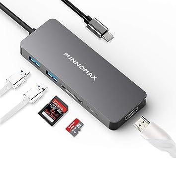 INNOMAX Adaptador HDMI 5-en-1 USB hub C/Adaptador, USB-C a ...
