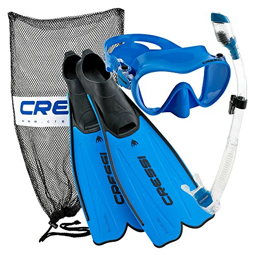 Cressi Rondinella Full Foot Mask Fin Snorkel Set with Bag, Blue, Size 5.5/6.5-Size 39/40