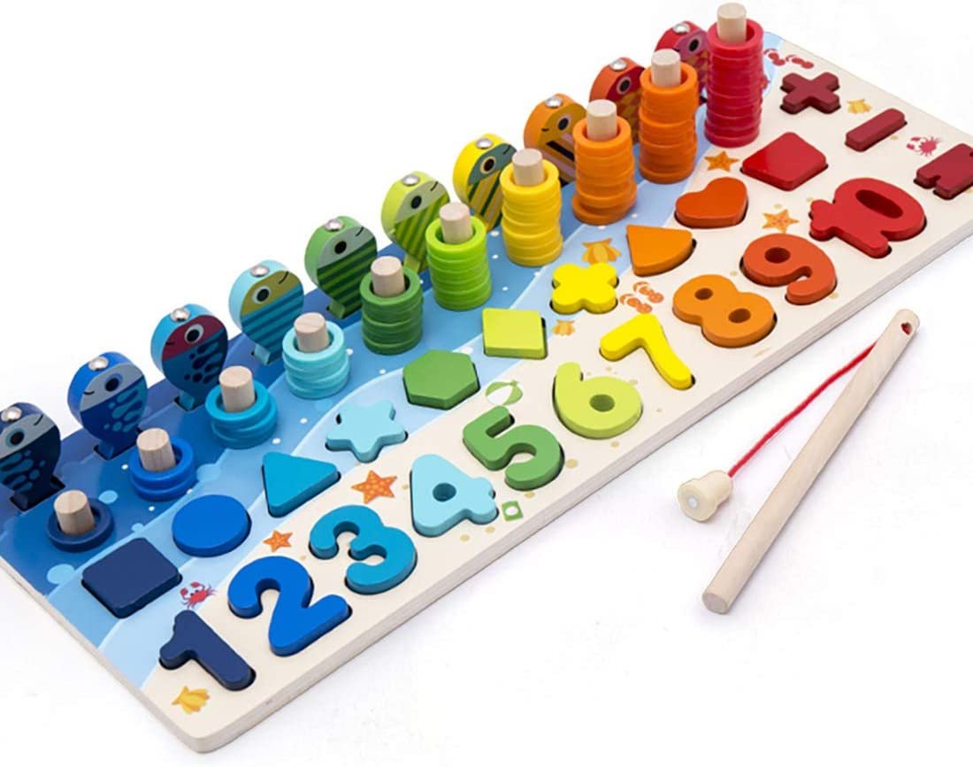 Wooden Number Puzzle Sorting Montessori Toys for Toddlers Shape Sorter Game for Age 2 3 4 5 Years Old Kids-4 in 1 Preschool Education Math Stacking Block for Kids