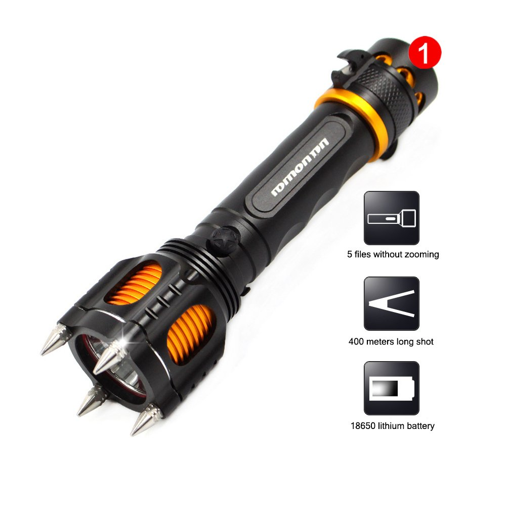 HOIHO Self Defense torch 1200 lumens 10 W 5 modes siren flashing light hunting emergency torch with 18650 battery and charger kit