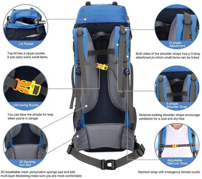 Zehaer Climb Backpack Hiking Travel Backpack,Outdoor Riding Camping The Climb High Capacity Backpack,Blue