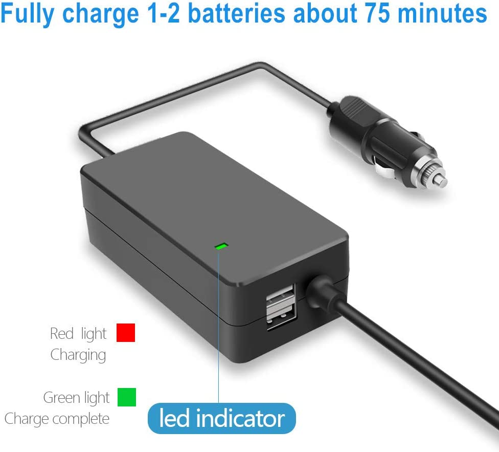 Hanatora 4 in 1 Battery Car Charger for DJI Mavic Air 2 Drone and Remote Controller Portable Multiple Rapid Charging Hub Accessories 2xUSB + 2 x Battery Charge