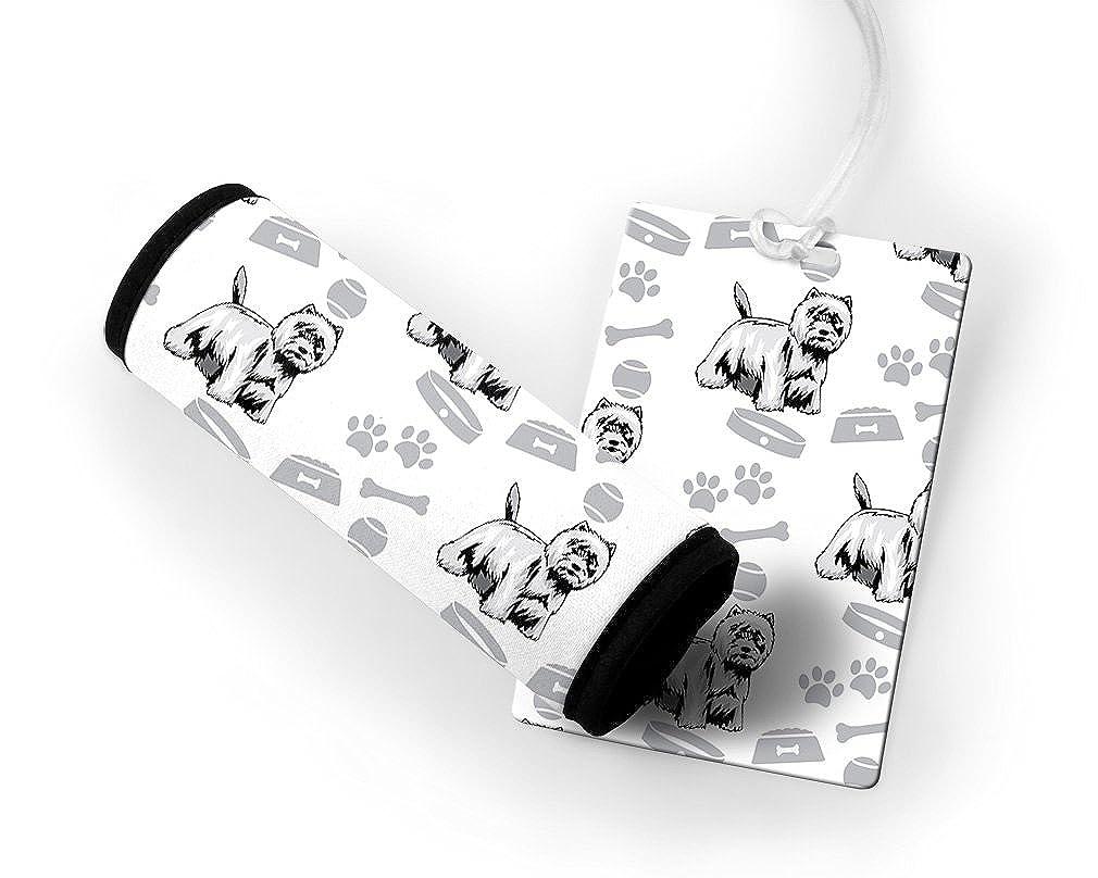 West Highland White Terrier Dog Bone Bowl Collar Luggage Tag & Finder Wrap Set TAGLUGPT5CDOG445