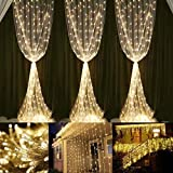 Neretva Window Curtain Icicle Lights, 600 LEDs String Fairy Lights, 19.68FTx9.84FT, 8 Modes Linkable , Icicle Fairy Lights for Christmas Party Wedding Home Patio Decorative Lights (Warm White)