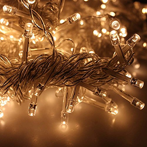 LIIDA Curtain Lights, LED Twinkle Lights 9.8 x 9.8ft Warm White Curtain Icicle Lights With 8 Modes Controller for Holiday, Party, Outdoor Wall, Wedding Decorations by LIIDA (Image #6)