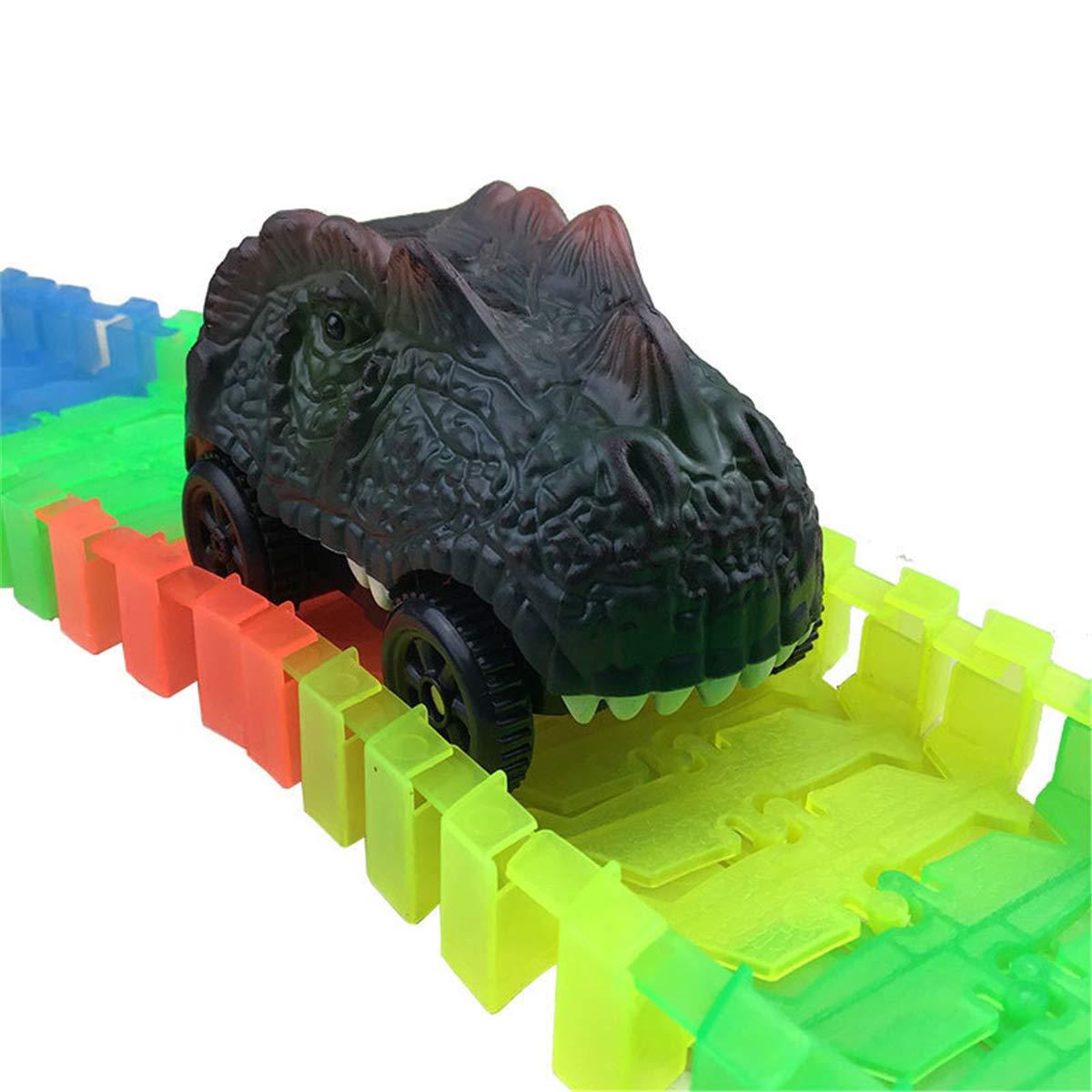 siwetg Coches de Pista de Dinosaurio compatibles con Pistas m/ágicas y Neo Tracks Accesorios de Pista de Carreras con 3 Luces LED Intermitentes