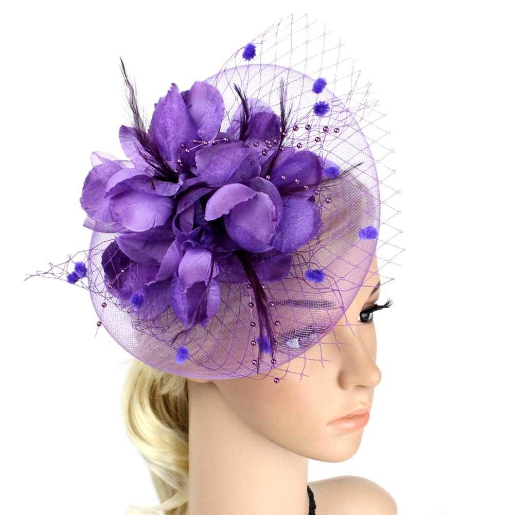 Big Flower Headband Netting Mesh Hair Band Cocktail Hat Party Fascinator, Purple, One Size