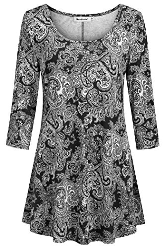 Nandashe Black Tops for Women 3/4 Sleeve, Sexy Plus Large Crewneck Floral Printing Pretty Comfy Flare Ruffled Hem Pleated Asymmetrical Paisley Blouses Extra Large Black Color (Slacks Fall Slacks New)
